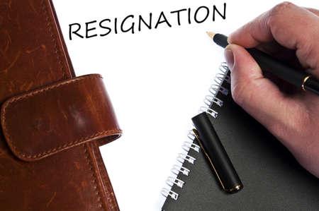 resignation: Resignation write by male hand Stock Photo