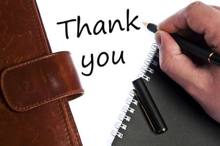 letter memo: Thank you write by male hand Stock Photo