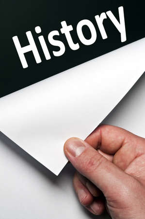 History word discovered by male hand Stock Photo - 9627481