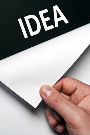 Idea word discovered by male hand Stock Photo - 9627469