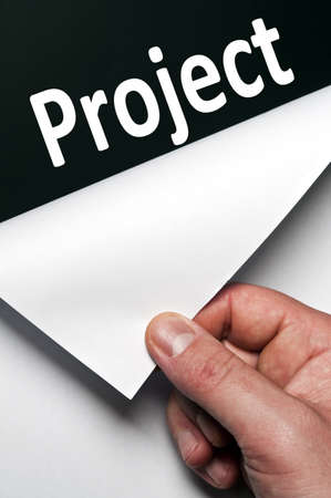 Project word discovered by male hand Stock Photo - 9627480