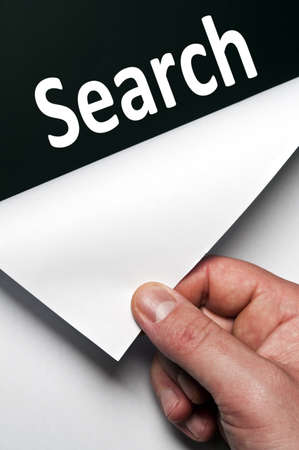 search word discovered by male hand Stock Photo - 9627476