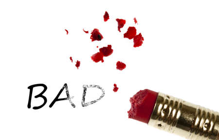 Bad word erased by pencil eraser photo