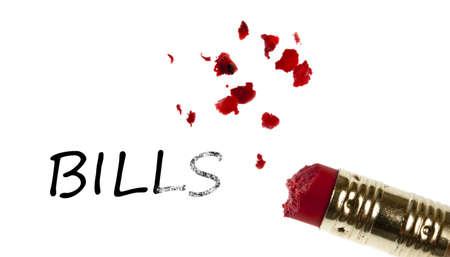 Bills word erased by pencil eraser photo