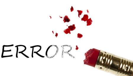 Error word erased by pencil eraser photo