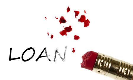 Loan word erased by pencil eraser photo