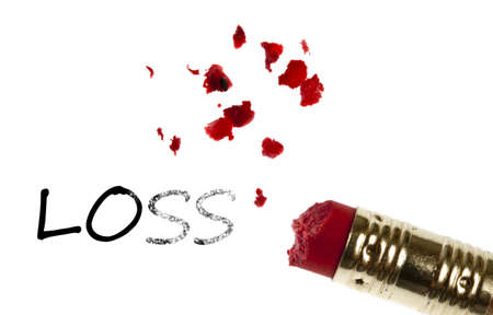 Loss word erased by pencil eraser photo