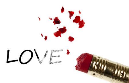 Love word erased by pencil eraser photo