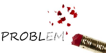 Problem word erased by pencil eraser photo