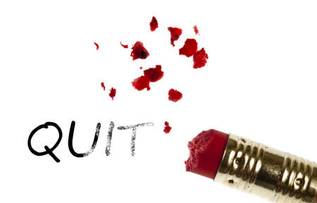 Quit word erased by pencil eraser photo