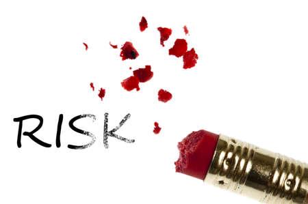 Risk word erased by pencil eraser photo