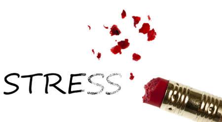 Stress word erased by pencil eraser photo