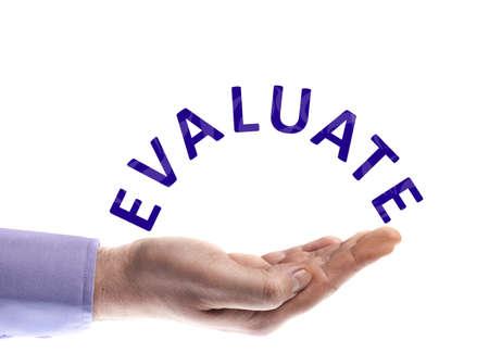 evaluating: Evaluar la palabra en mano masculina