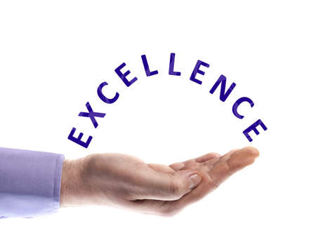 excellent: Excellence word in male hand