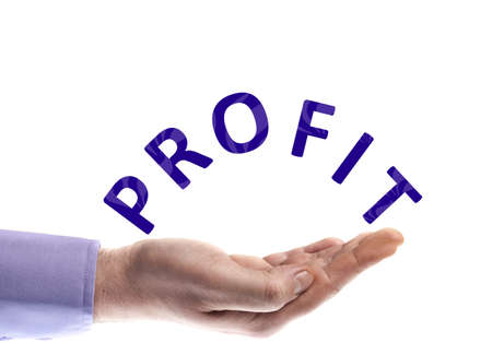 Profit word in male hand