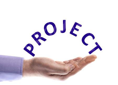 profesionistas: Palabra de proyecto en mano masculina Foto de archivo