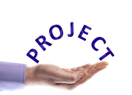 Project word in male hand Stock Photo