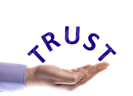 Trust word in male hand Stock Photo - 9627315