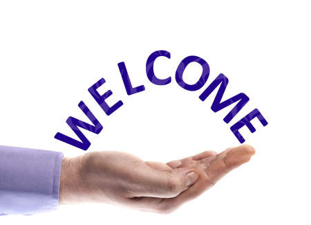 Welcome word in male hand photo