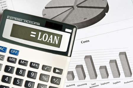 Loan word on electronic calculator photo