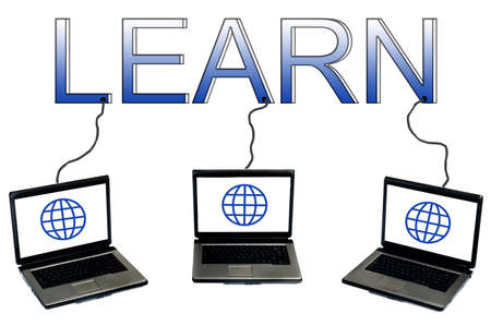 Learn word connected to laptops Stock Photo - 9627272