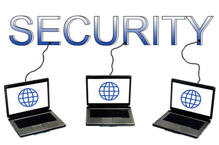Security word connected to laptops Stock Photo - 9627321