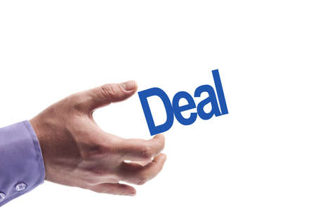 Deal word in male hand photo