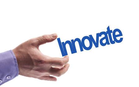 innoveren: Innovate word in male hand