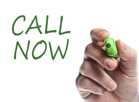 Hand write with green marker call now