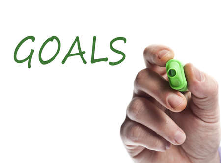 Hand write with green marker Goals Stock Photo - 9627143