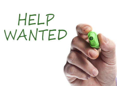 Hand write with green marker Help wanted Stock Photo - 9627184