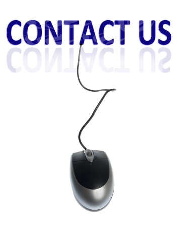 Contact us word connected with pc mouse photo