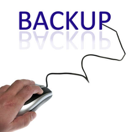 Backup word connected with pc mouse photo