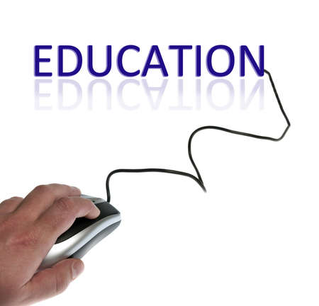 Education word connected with pc mouse photo