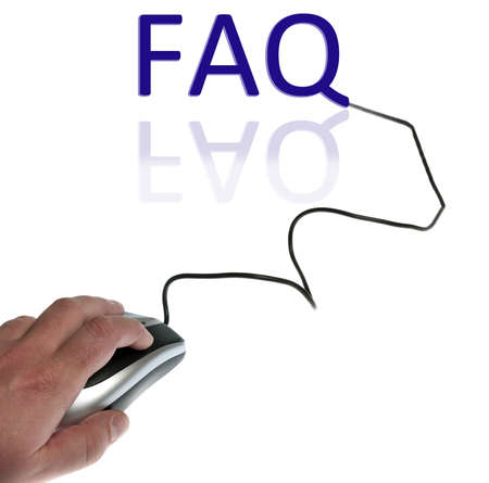 Faq word connected with pc mouse photo