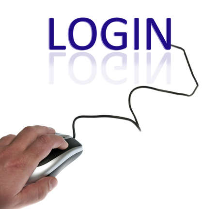 Login word connected with pc mouse Stock Photo - 9627154