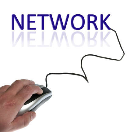 use computer: Network word connected with pc mouse