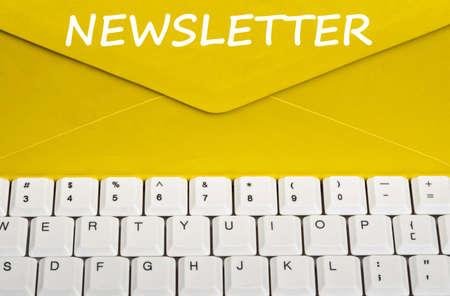 newsletter: Newsletter message on envelope Stock Photo