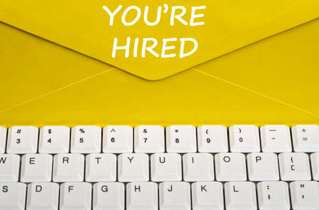 Youre hired message on envelope photo