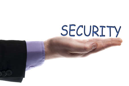 hand guards: Security word in male hand Stock Photo