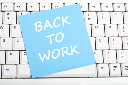 Back to work mesage on keyboard Stock Photo - 9628456