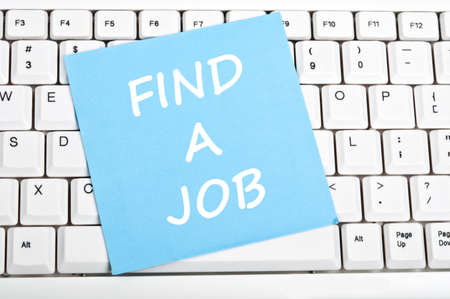 find a job: Find a job mesage on keyboard Stock Photo