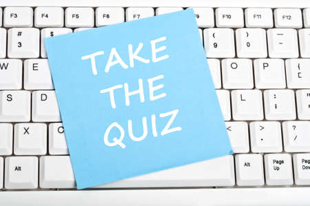 online form: Take the quiz message on keyboard