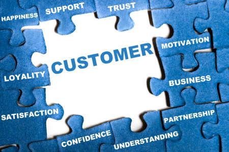 understanding: Customer blue puzzle pieces assembled