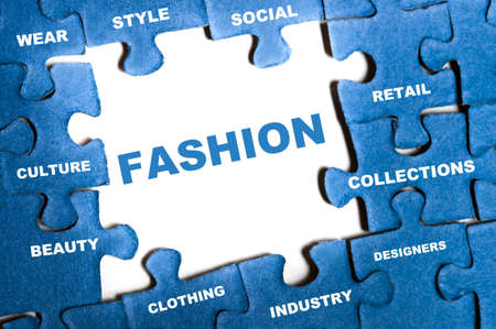 Fashion blue puzzle pieces assembled Stock Photo - 9628548