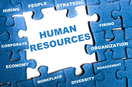 Human resource blue puzzle pieces assembled Stock Photo - 9628787