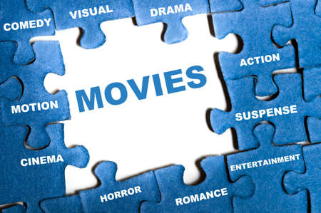 Movies blue puzzle pieces assembled Stock Photo - 9628579