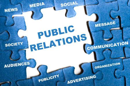 public speaking: Public relations blue puzzle pieces assembled