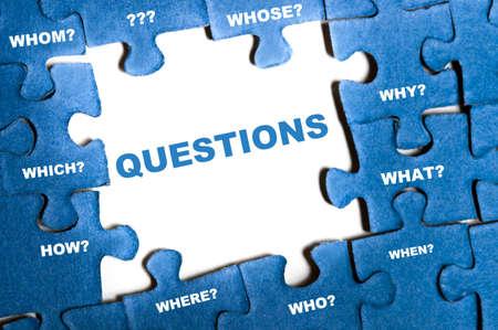 Questions blue puzzle pieces assembled photo