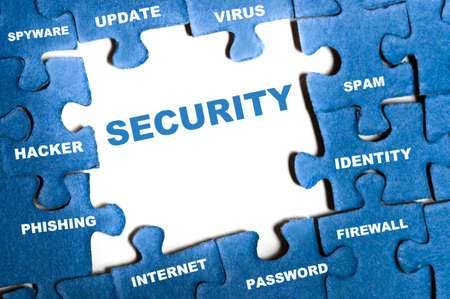 information systems: Security blue puzzle pieces assembled Stock Photo